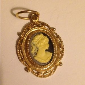 Golden Framed Black White Cameo Pendant
